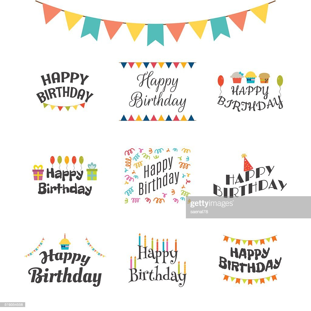 Happy Birthday greeting cards. Birthday theme labels. Typography
