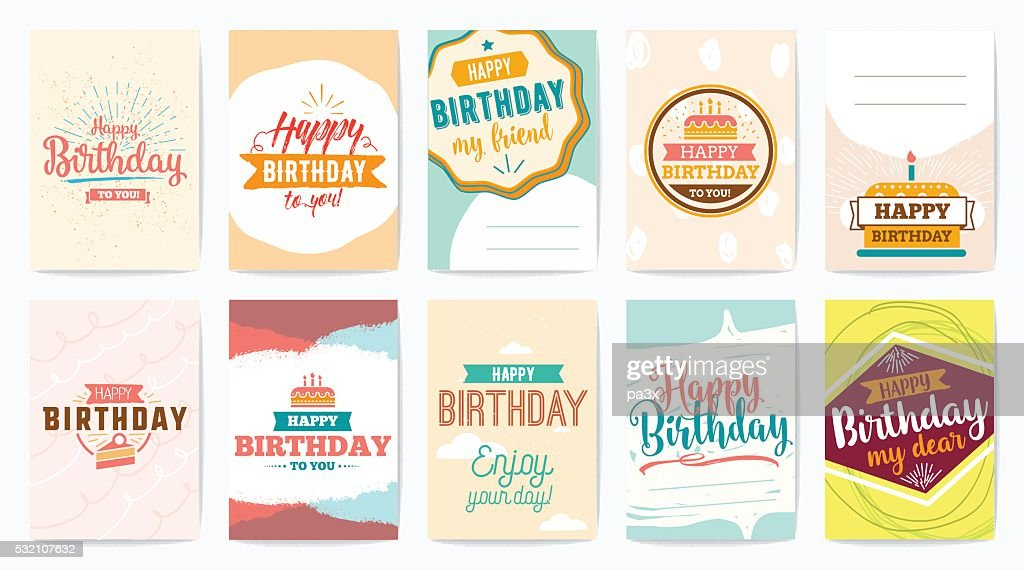 Happy Birthday greeting cards set. Vector design