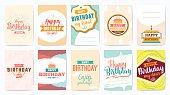 Happy Birthday greeting cards set. Vector design