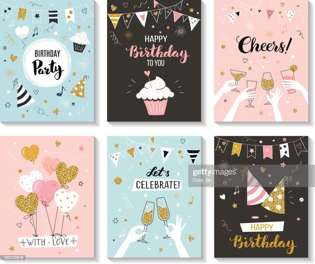 Happy birthday greeting cards.