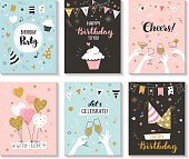 Happy birthday greeting cards.