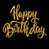 Happy birthday. Hand drawn lettering phrase isolated in golden style on dark background.