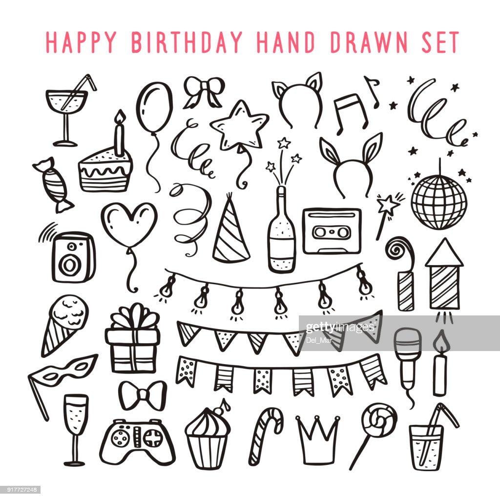 Happy birthday hand drawn set. Vector vintage illustration.