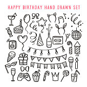 Happy birthday hand drawn set. Vector vintage illustration.