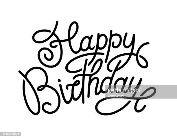happy birthday. hand-drawn lettering isolated on white background. - happy birthday stock illustrations