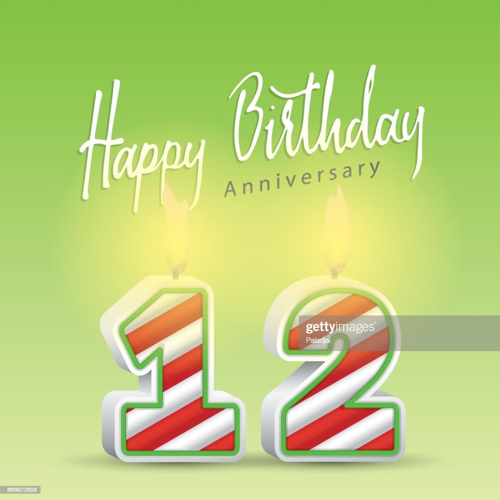 Happy birthday handwrite heading design and candle celebrate anniversary number 12. Vector illustration.