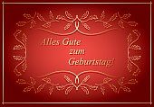Alles gute zum Geburtstag - Happy birthday - bright red vector greeting card with floral frame