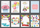 Happy Birthday, Holiday  Greeting and Invitation Card Template Set with Balloons and Flags. Vector Illustratio