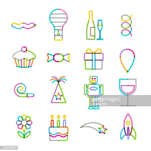 ハッピーバースデーアイコンセット - 30歳の誕生日点のイラスト素材/クリップアート素材/マンガ素材/アイコン素材