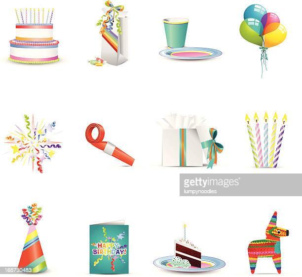 happy birthday icons - pinata stock illustrations