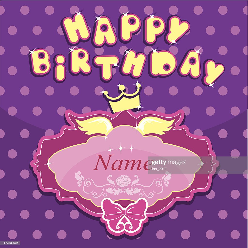 Happy Birthday Invitation Card For Girl Stock Vector