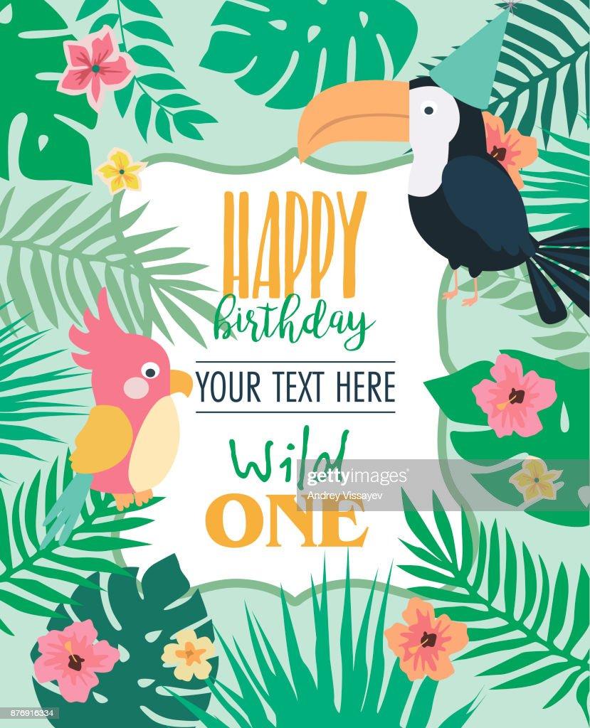 Happy Birthday Invitation Card For Safari Africa Party