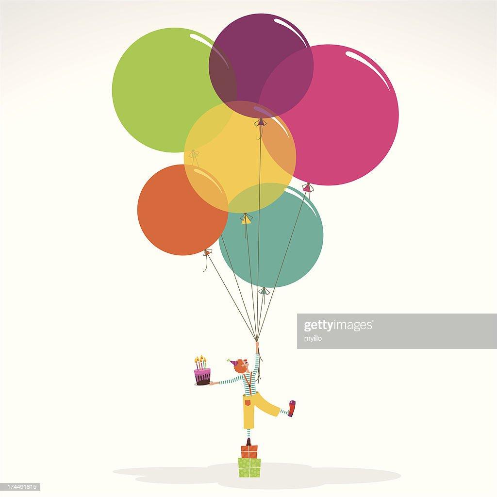Happy birthday invitation clown with ballons cake