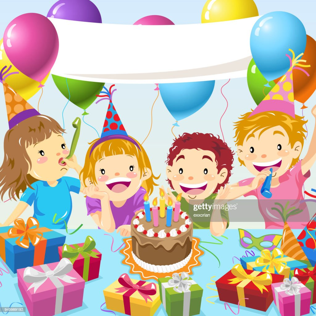 Happy Birthday Kids Party Vector Art Getty Images