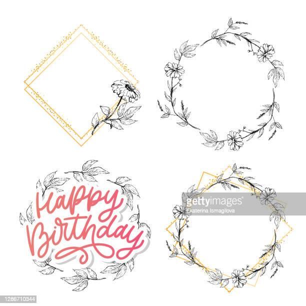 happy birthday lettering calligraphy slogan flowers