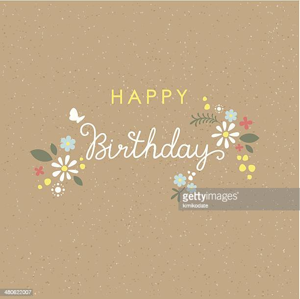 Happy Birthday lettering flower card