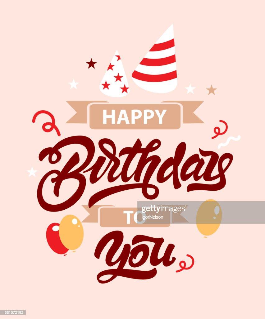 Happy birthday lettering illustration with balloons stars and ribbon lettering illustration with balloons stars and ribbon hand drawn invitation t stopboris Gallery