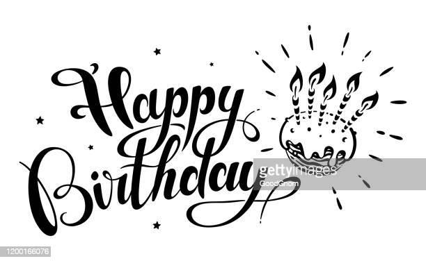 happy birthday lettering - birthday stock illustrations