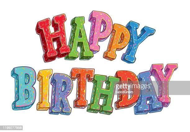 illustrations, cliparts, dessins animés et icônes de lettres de joyeux anniversaire - birthday