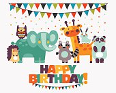 Happy birthday, lovely card with funny cute animals and garlands