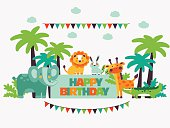 Happy birthday. Lovely card with funny cute animals and garlands