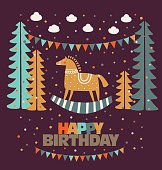 Happy birthday - lovely vector card funny wood horse in pastel colors