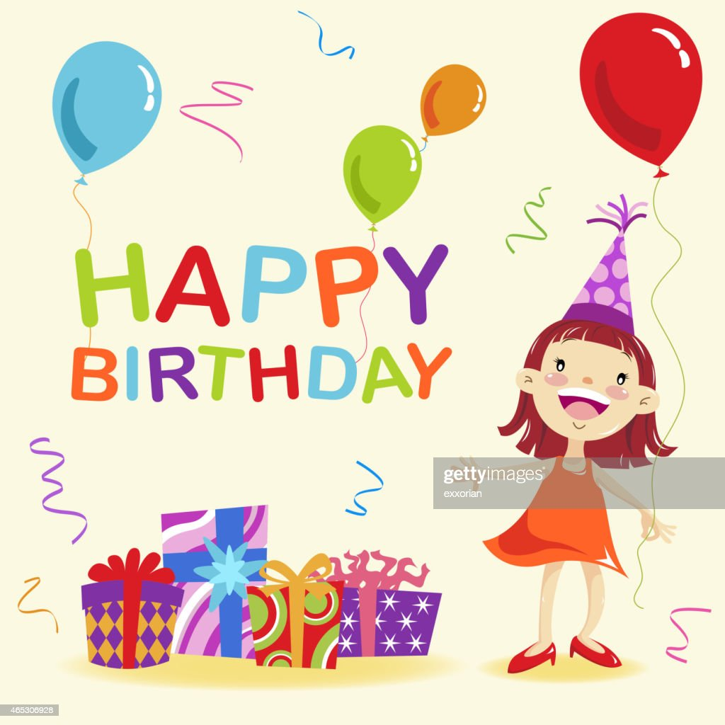 Happy Birthday Girl Illustration ~ Happy birthday message vector art getty images