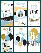 Happy Birthday Party cards set