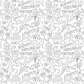 Happy birthday party doodle black and white seamless pattern