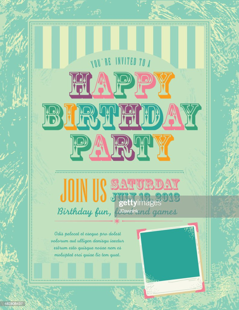 Happy Birthday Party Invitation Design Template High Res