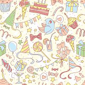 Happy birthday party seamless colored pattern with hand drawn pa