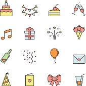 Happy birthday party vector multicolored icons set.