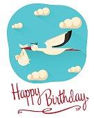 Happy birthday postcard concept
