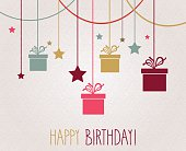 Happy Birthday poster. Hanging colorful gift
