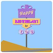 Happy birthday road sign