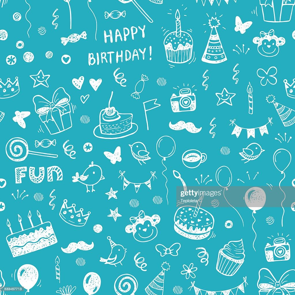 Happy birthday seamless hand drawn background