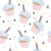 Happy Birthday seamless pattern with cakes. Vector background for your design. Vector illustration