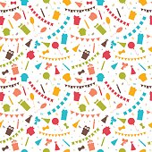 Happy Birthday seamless pattern with colorful party elements