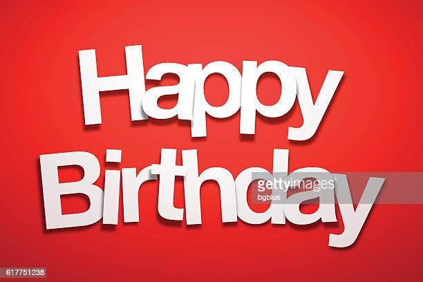 illustrations, cliparts, dessins animés et icônes de happy birthday sign with red background - paper font - joyeux anniversaire