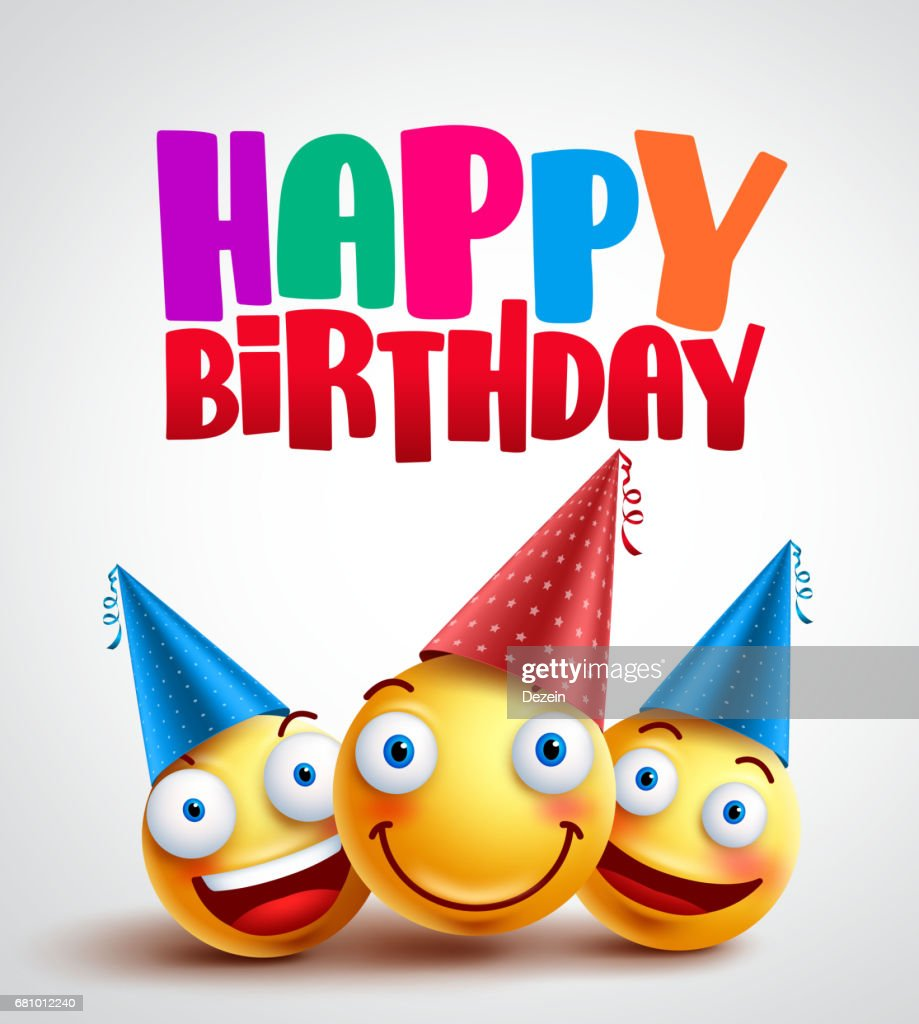 Happy birthday smileys celebrant with happy friends, funny vector banner