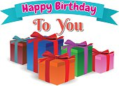 happy birthday to you, gift box full colors