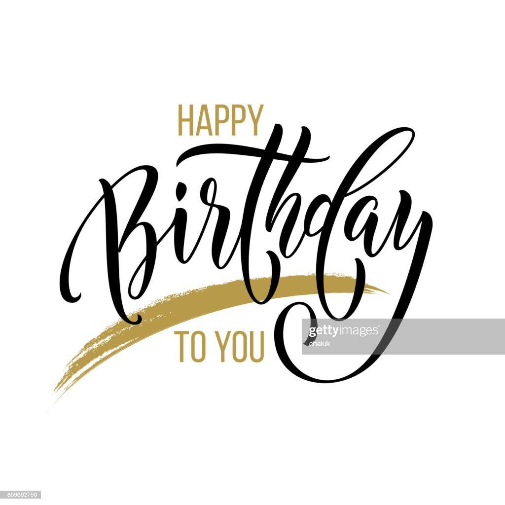 Alles Gute Zum Geburtstag Grußkarte Kalligraphie Hand Gezeichnet ...