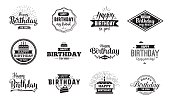 Happy Birthday typographic set. Vector design