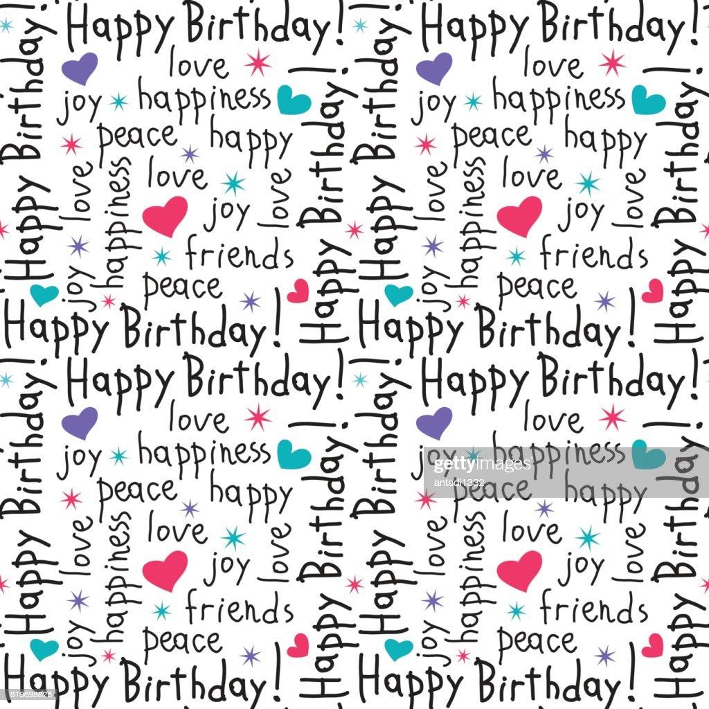 Happy Birthday Typografie Nahtlose Muster Kalligraphie Hand ...
