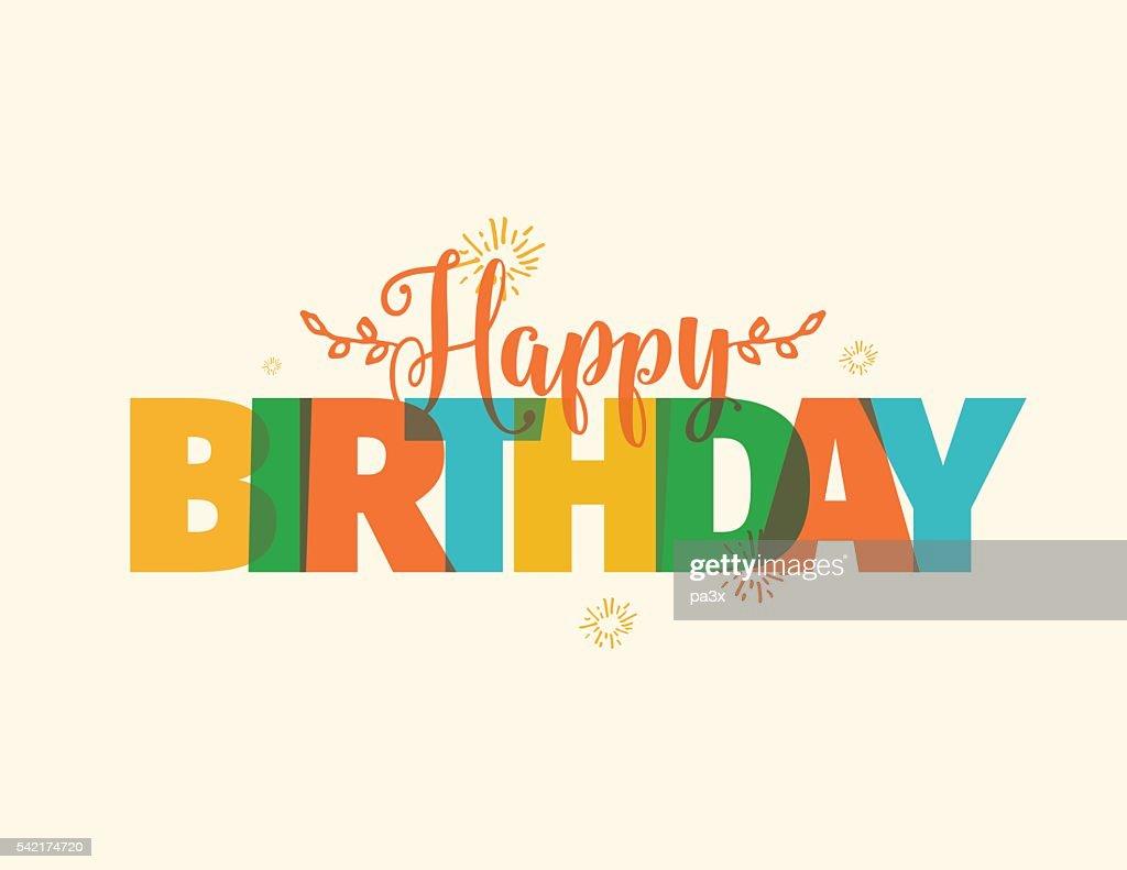 Happy Birthday typography. Vector design.