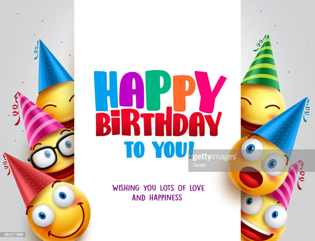 Happy birthday vector design with smileys wearing birthday hat