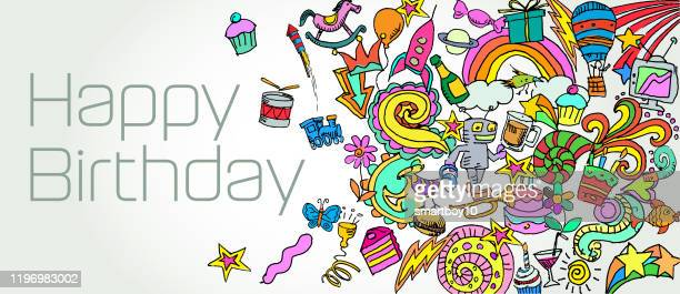 herzlichen glückwunsch zum geburtstag - geburtstagskarte stock-grafiken, -clipart, -cartoons und -symbole