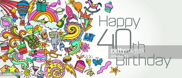 お誕生日おめでとう - 40歳の誕生日点のイラスト素材/クリップアート素材/マンガ素材/アイコン素材