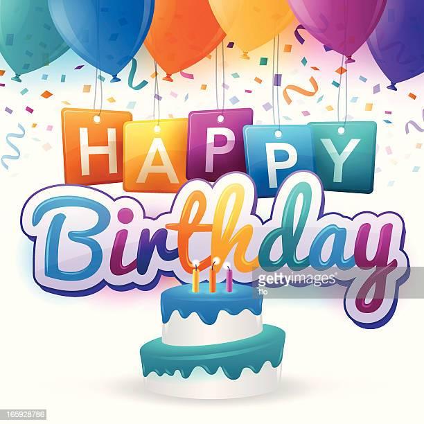 happy birthday - birthday stock illustrations