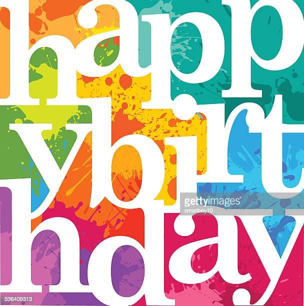 happy birthday - geburtstagskarte stock-grafiken, -clipart, -cartoons und -symbole